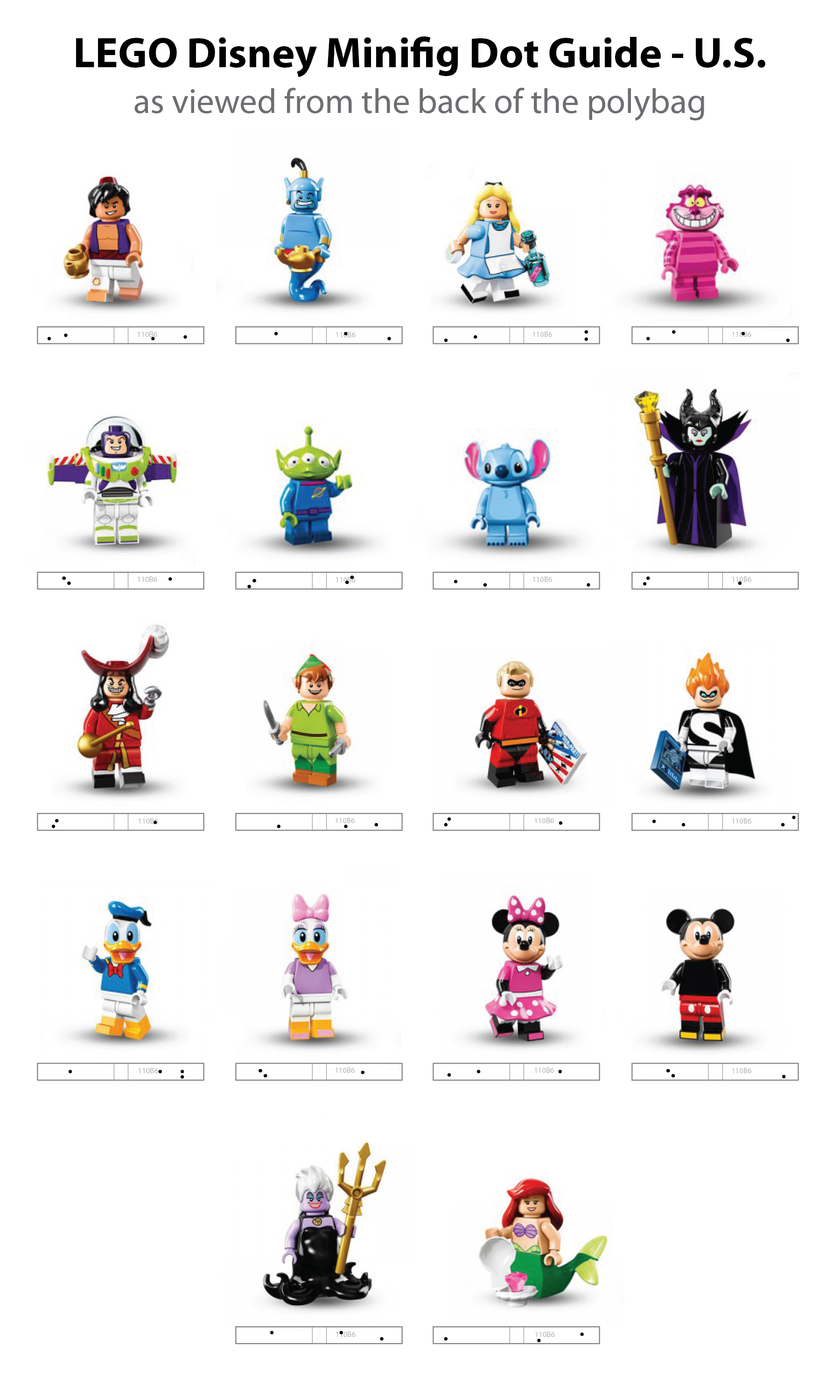 LEGO Disney Minifig Dot Codes